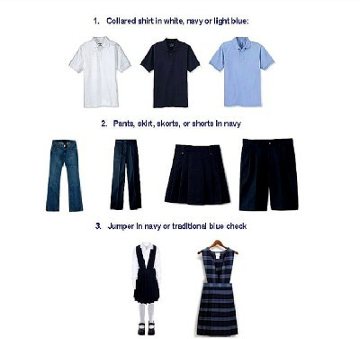 Jefferson School follows the recommendations established by the School Site Council and the Governing Board for a standardized school uniform for the 2011-2012 school year.